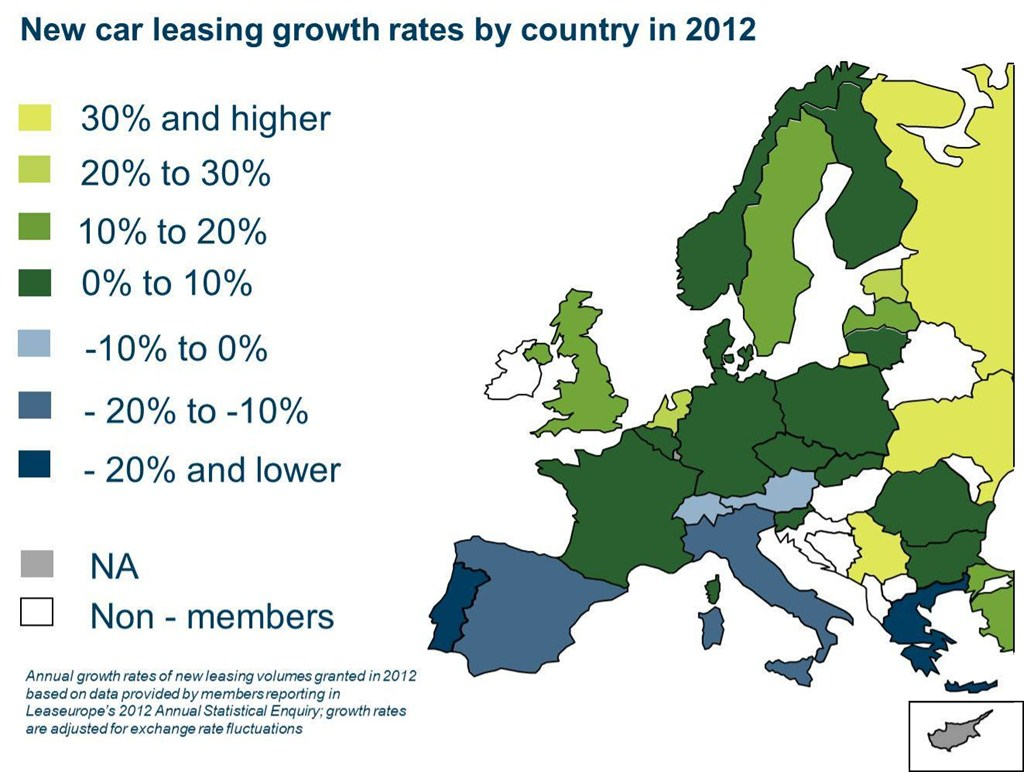 Leaseurope-new car leasing growth rates by country 2012
